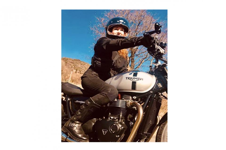 Laura and her Triumph.